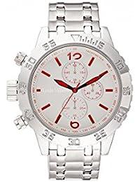 Reloj hombre Louis Villiers reloj 48 mm de acero blanco y pulsera plateado acero lv1023