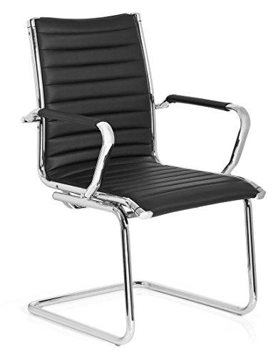 hjh OFFICE 660942 Besucherstuhl Freischwinger VEMONA V Kunstleder Schwarz/Chrom Büro Konferenzstuhl Stuhl mit Armlehnen -