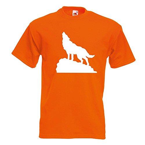 KIWISTAR - heulender Wolf auf Fels T-Shirt in 15 verschiedenen Farben - Herren Funshirt bedruckt Design Sprüche Spruch Motive Oberteil Baumwolle Print Größe S M L XL XXL Orange