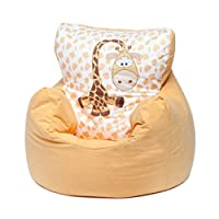 Loft25 Toddler Animal Print Soft Plush Bean Bag Chair - Giraffe, Yellow