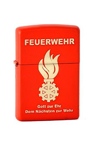 Zippo 2.000.998 Feuerzeug Feuerwehr Gott zur Ehr Dem Nächsten zur Wehr, Laser engraved, rot matte