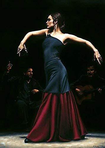 Rahmen-Kunst Keilrahmen-Bild - Richard Young: Encantado por Flamenco Leinwandbild Tanz Frau Spanien Erotik (50x65)