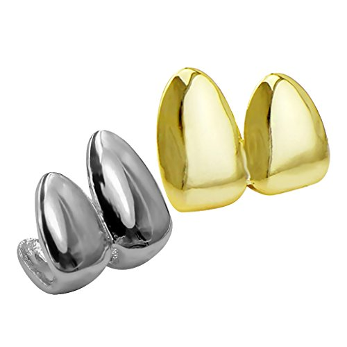 Zähne Grills Top Iced Out Kappen Grill Hip Hop Eckzähne 2Pairs ()