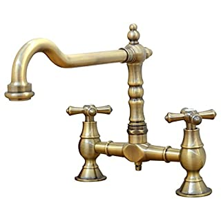 ENKI Traditional Colonial Bridge Kitchen Sink Mixer Tap Cross Knobs Handles Antique Bronze LANGLEY