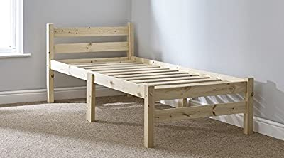 Heavy Duty Single 3ft Wooden Pine Bed Frame - Can be used by Adults - Strong siderail support legs included - cheap UK light shop.