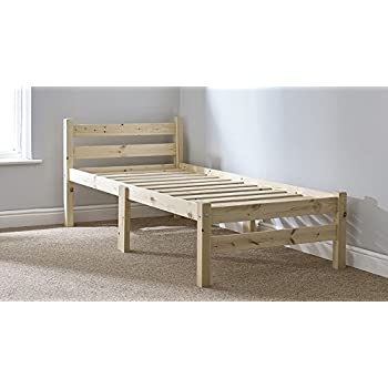 heavy duty single 3ft wooden pine bed frame can be used by adults strong siderail support legs included - Single Bed Frame