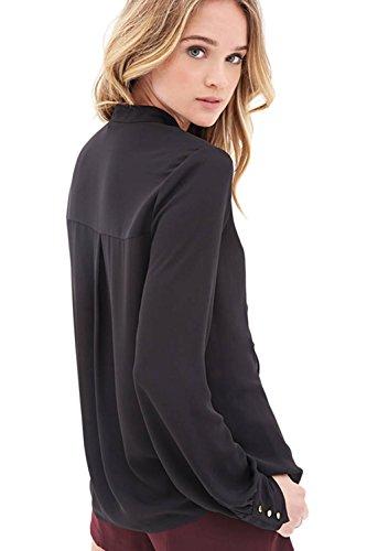 Donna Ruffle Top di Chiffon camicetta manica lunga Black