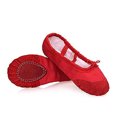 DoGeek Gute Qualität Ballettschuhe Weich Spitzenschuhe Ballet Trainings Schläppchen Schuhe für Mädchen/Damen in Den Größen 22-44 (Bitte wählen Sie eine größere Größe) - Rote Ballettschuhe