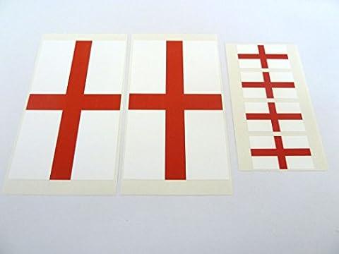6 Stück, Englische Flagge England Fensterbild St. George Kreuz Etiketten, 'Inside Fix View'außen (George Englische Flagge)