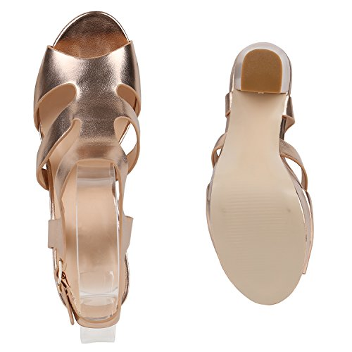 Heels Schuhe Blockabsatz High Damen Rose Sandaletten Gold Plateau b7y6vYgf