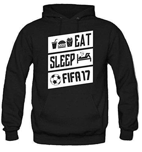 Preisvergleich Produktbild Eat, Sleep & FIFA17 Kapuzenpullover | Fussball | Männer | Herren | Baumwolle | Kult | Konsole | Xbox | PlayStation | Game | Gamer (L, Schwarz)