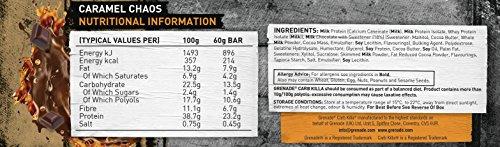 Grenade Carb Killa High Protein and Low Carb Bar, 12 x 60 g – Caramel Chaos