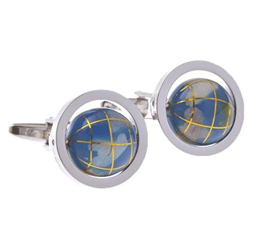 Fengteng Globe Rotatif Boutons de manchette Bleu clair