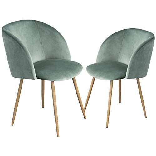 EGGREE Set of 2 Retro Vintage Dining Chair Velvet Fabric Tub Accent Chair Armchair Dining Living Room Lounge Office Modern Furniture - Cactus Green