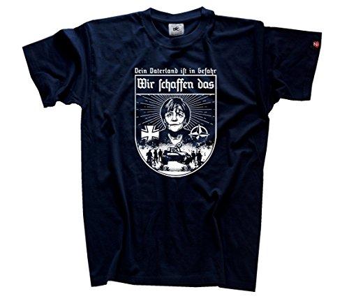 Wir schaffen das - Merkel Fan Shirt T-Shirt Navy XL