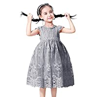TTYAOVO Girls Sleeveless Lace Vintage Birthday Party Pageant Princess Dress 6-7 Years 03 Grey