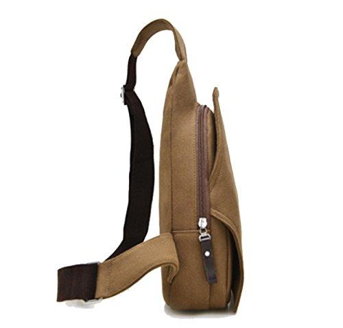 BULAGE Taschen Männer Taille Brust Tasche Multifunktionale Outdoor Sport Leinwand Mannbeutel Kleine Schulranzen Freizeit Licht Reise Brown