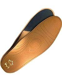 ACE Semelles intérieures en cuir Inserts en cuir véritable dessous en mousse à mémoire de forme, rembourrage absorbant les chocs soulager les articulations le dos, tailles: 35-48