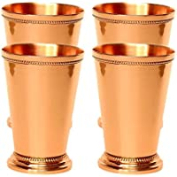 Juego de 4 tazas de cobre puro de Moscú con diseño de menta y Julep,