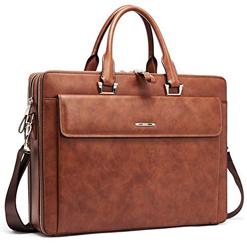 Herren Leder Aktentaschen Damen Businesstasche 15.6 Zoll Laptoptasche Vintage Aktenkoffer Arbeitstaschen braun - Damen-aktentaschen