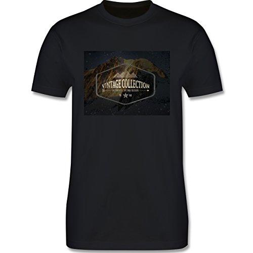 Wintersport - Retro Design Berge - Herren Premium T-Shirt Schwarz