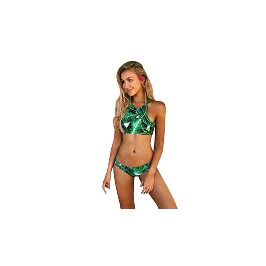 Smartlady Modelo Verde De La Pluma Traje De Ba/ño Bikini