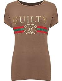 WearAll Women's Plus Short Sleeve Guilty Slogan Print Round Neck Top Ladies T-Shirt 14-28