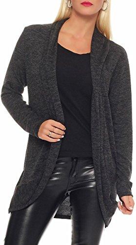 Malito Damen Strickjacke lang | Cardigan im eleganten Design | Angesagter Oversize Look - Weste - Jacke 5021 (dunkelgrau)