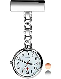 Reloj de Enfermera, Reloj de Bolsillo de Cuarzo con Broche para Colgar, Reloj de