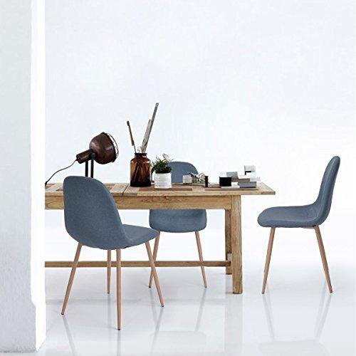 Aingoo Conjunto de 4 sillas de salón de diseño de diseño de Eiffel con las piernas fuertes del metal y el asiento acolchado de la tela azul coralino