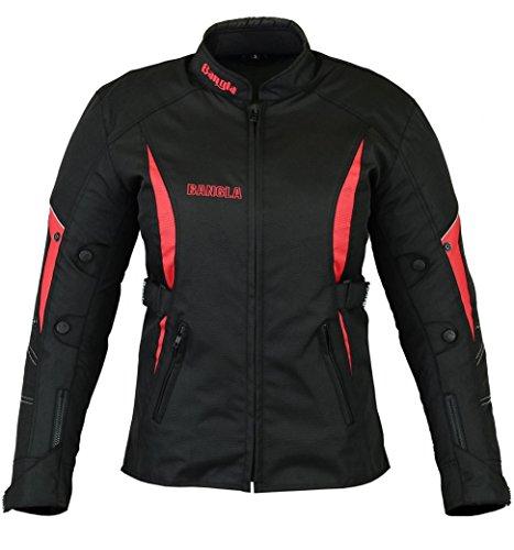 B-103 Bangla Sportliche Damen Motorradjacke Touren Jacke Textil Schwarz-rot S