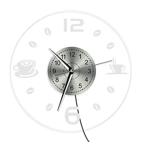 gjdm Wanduhren,Uhren Kaffee Vintage Design Beleuchtet Kaffeebohne Led Beleuchtung Business Neon Sign Cafe Küche Wandkunst Coffee Bar Dekor Kann Gut Home Office Coffee Bar Hotel Schmücken