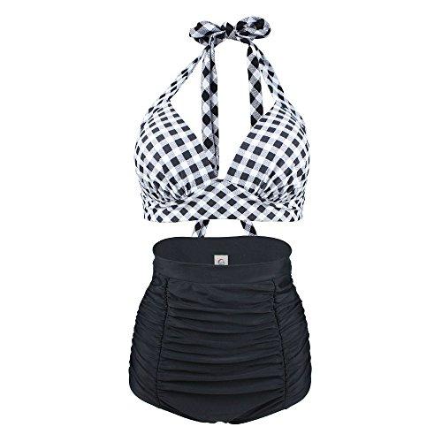 Laorchid Rockabilly 1950s Damen Hohe Taillen Badeanzug Bikini Neckholder Bügellos Kariert Schwarz & Weiss L (Damen Hoch Taillierte Höschen)