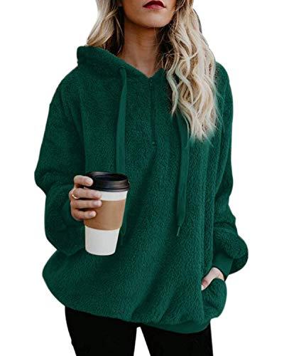 ORANDESIGNE Damen Oberteile Herbst Wolle Hoodie Winter Sweatshirt Tops Langarmshirt mit Taschen Strickjacke S-XXL Grün DE 46