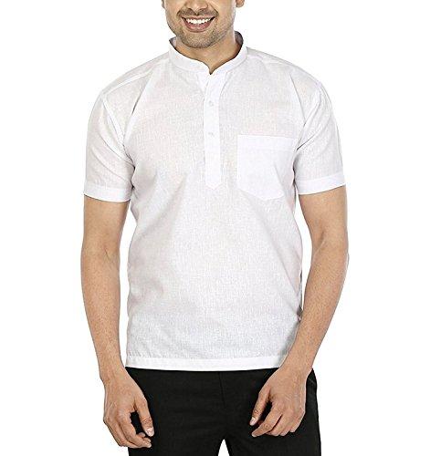 LDHSATI Men's Cotton Half sleeve Short Kurta (White, 44)