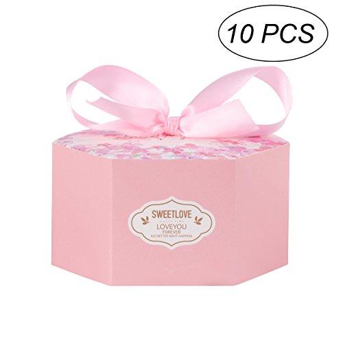 Toymytoy scatola portaconfetti per la festa di matrimonio con frase dolce amore e nastro fiocco 10 pezzi (rosa)