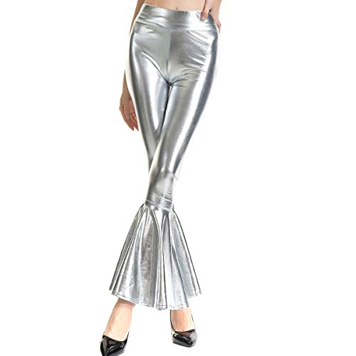 nde Schlaghose Trompetenhose Weite Bein Palazzo Lange Hose Hohe Bund Hippie 70er Glitzer Schlanke Leggins Einfarbig Metallic Wetlook Stretch Tanzhosen Disco Clubwear Silber L ()