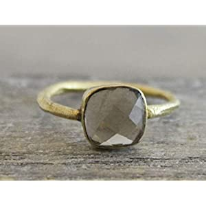 Petite Cushion Cut Rauchquarz vergoldet Sterling Silber Ring US-Größe 6 / Diameter 16.5