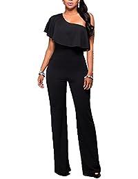 Mono Elegante Jumpsuits Para Mujeres Off-Hombro Pantalones Largos Bodysuit Para Fiesta Boda Beachwear Negro 3XL