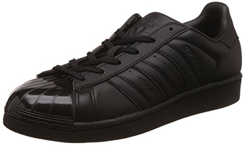adidas Damen Superstar Glossy Toe Basketballschuhe, Schwarz (Cblack/Cblack/Ftwwht), 40 (70er Schwarze Jahre Mode)