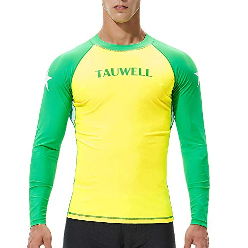 Plot Herren Langarm Bademode, UV-Schutz UPF 50+ Basic Surfen Tauchen Shirt Rash Guard Tops (Gelb, L)