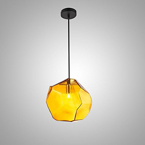 Stein 1-Light Mini bunte Glas Pendelleuchte Deckenbefestigung Grau Blau Amber, Amber -