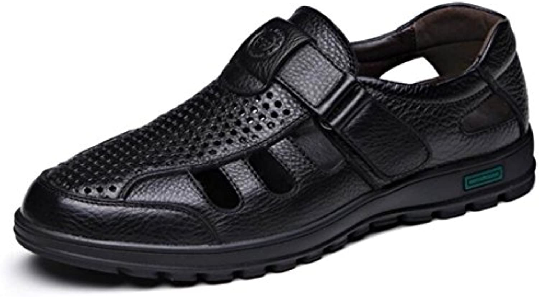DHFUD Set Fuumlße Niedrig Helfen Velcro Männer Schuhe Sommer Leder Hohlen Schuhe Männer Atmungsaktiv Lässig Sandalen