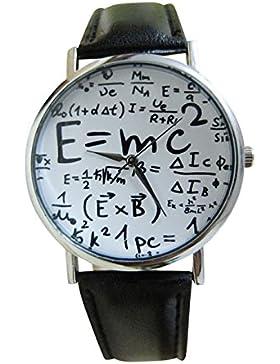 Unisex Armbanduhr Albert Einstein Formel E=mc² Relativitätstheorie Mathe Physik silber schwarz weiß