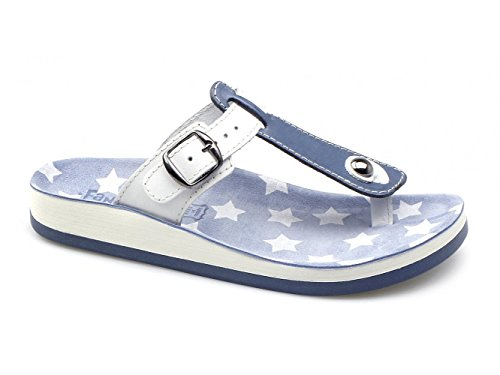 Fantasy Sandals , Barre en T femme Bleu - Bleu/blanc