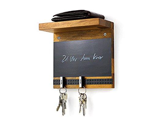 Schlüsselbrett PLAY 205 Holz für die ganze Familie | Schlüsselboard mit Ablage | Schlüsselleiste Nussbaum mit 5 Schlüsselanhängern zum selbst beschriften | Memoboard Tafel mit Kreidestift | schwarz (Holz-schlüsselbrett)
