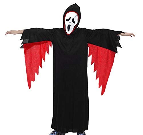 Ansenesna Halloween Kostüm Kinder Mädchen Junge Vampir Geist Gruselig Cosplay Mantel + Maske Outfits Sets (M, Schwarz)