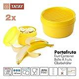 TATAY - Lote de 2 Tapers Portafruta en Plástico de Alta Calidad Libre de BPA, Práctico Cierre Hermético a Rosca Ideal Para Transporte de Fruta, Tentempiés y Papillas, Capacidades 0.5L + 0.2L, Color Amarillo