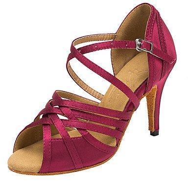 Silence @ Chaussures de danse pour femme en satin Latin/Salsa Sandales/talons Talon Professional/intérieur bleu/violet bleu