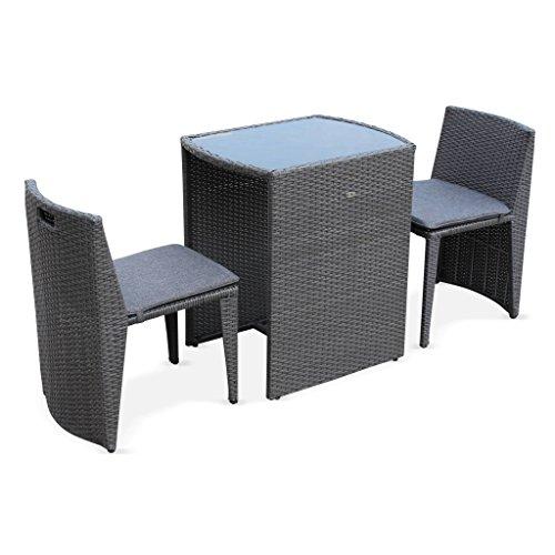 Table de Jardin en résine tressée - Doppio - Gris, Coussins Gris chiné - 2 Places, encastrable, spécial Balcon ou Petite terrasse